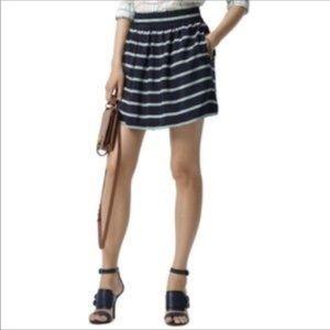 Club Monaco Skirt Navy Green A-Line Silk